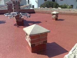 terraza en rojo teja